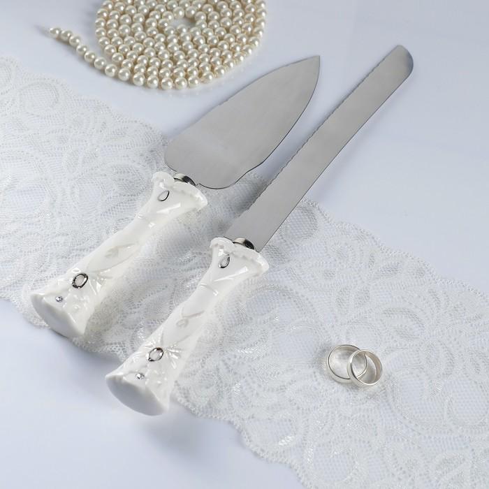 """Набор для торта """"Резной"""" из ножа 32см и лопатки 27см, фарфор"""