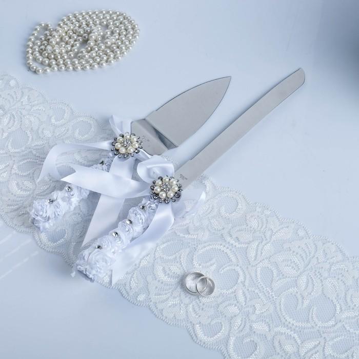 """Набор для торта из ножа 33см и лопатки 26см """"Жемчужина"""", белый  35*3*14см"""