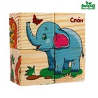 """Cubes wooden """"Animals of Africa"""", set of 4 PCs."""