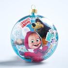 """Новогодний ёлочный шар """"С Новым годом"""" Маша и Медведь с 3D аппликацией"""