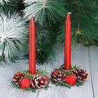 """Новогодние свечи с подсвечником """"Красный блеск"""" (набор 4 шт) 3,5*11*15 см"""