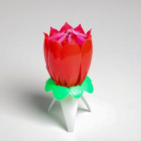 """Свеча для торта музыкальная """"Тюльпан"""", красная, 12×5 см"""