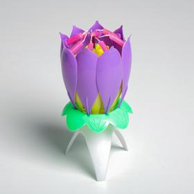 Свеча-цветок д/торта музыкальная 12 х 5 см, фиолетовый