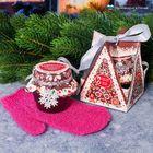 """Подарочный набор джем-скраб для душа 175 мл + варежка для тела """"Сказочного Нового года!"""" с ароматом капучино"""