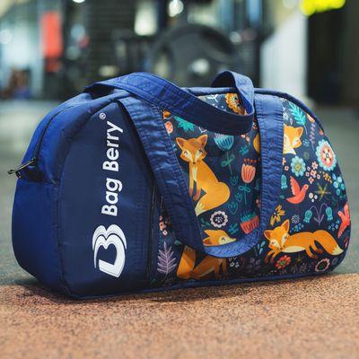 """Сумка спортивная на молнии """"Фитнес"""", 1 отдел, наружный карман, регулируемый ремень, цвет синий/разноцветный"""