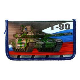 Пенал 1 секция «Танк Россия», 115 х 205 мм, эффект металлик, 3D объёмный рисунок