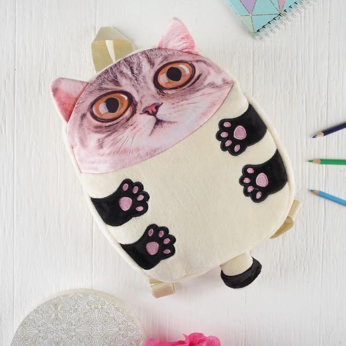 Мягкая игрушка-рюкзак «Большеглазый котик»