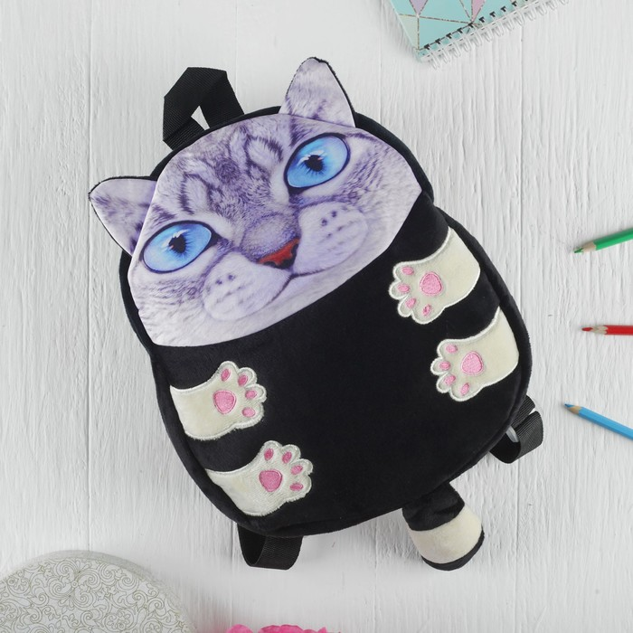 Мягкая игрушка-рюкзак «Котик», голубые глазки