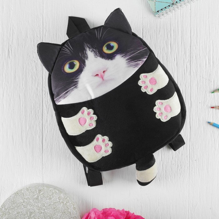 Мягкая игрушка-рюкзак «Котик», белый носик