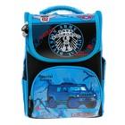 Ранец школьный, каркасный, с ортопедической спинкой, 32х25х11 см, 2 отделения, 3 кармана, «Машина»