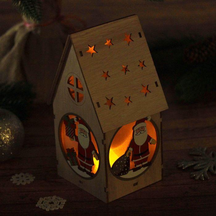 """Декор с подсветкой """"Домик с подарочком"""""""