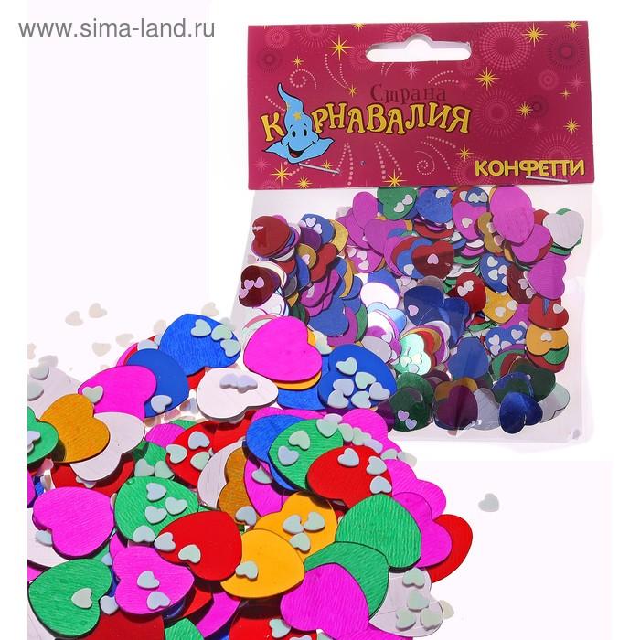 """Карнавальное конфетти """"Сердечки"""" 2 размера, 14 грамм"""