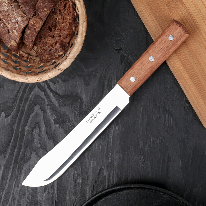 Нож для мяса Tramontina Universal, лезвие 20 см, сталь AISI 420, деревянная рукоять