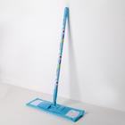 Швабра плоская, телескопическая ручка 82-129 см, насадка из микрофибры, цвет МИКС