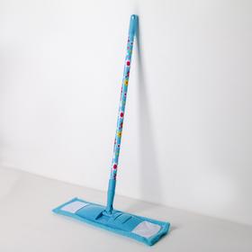 Швабра плоская Доляна «Цветочки», телескопическая ручка 68-121 см, насадка микрофибра 42×12 см, цвет МИКС