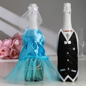 "Decoration on champagne ""Wedding waltz"", turquoise"