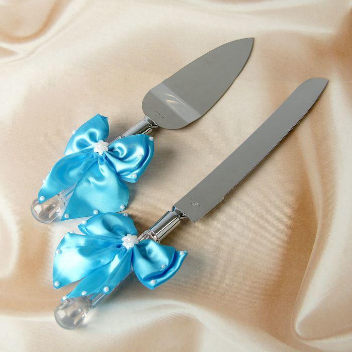 Нож+лопатка для свадебного торта с бантами,цвет бирюзовый