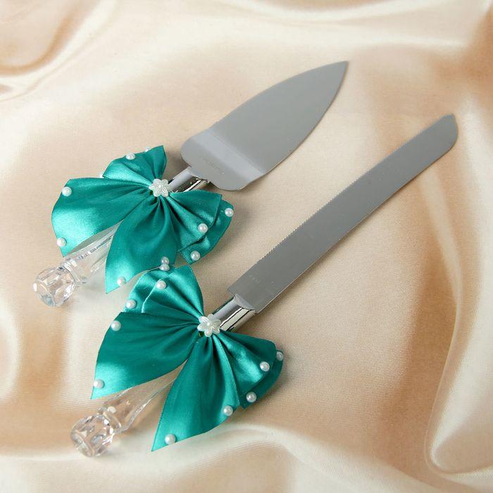 Нож+лопатка для свадебного торта с бантами,цвет изумрудный