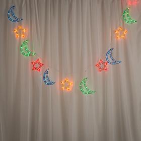 """Гирлянда """"Бахрома"""" 2.3 х 0.25 м с насадками """"Звезда и месяц"""", IP20, белая нить, 120 ламп, свечение мульти, 8 режимов, 220 В"""