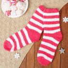"""Носки махровые """"Полоски"""", размер 21-25, цвет красный/белый"""