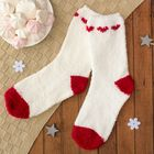 """Носки махровые """"Сердца"""", размер 19-23, цвет белый/красный"""