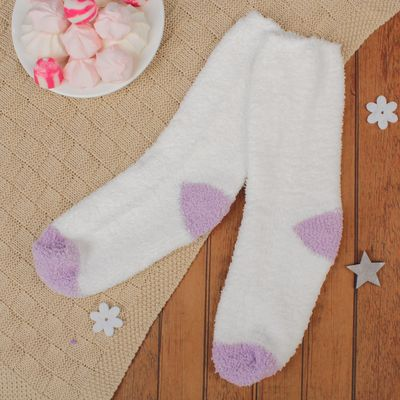 Terry socks, size 19-21, white/purple
