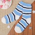 """Носки махровые """"Полоски"""", размер 19-25, цвет белый/синий"""