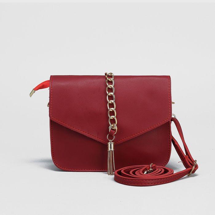 Сумка женская, отдел на клапане, наружный карман, регулируемый ремень, цвет красный