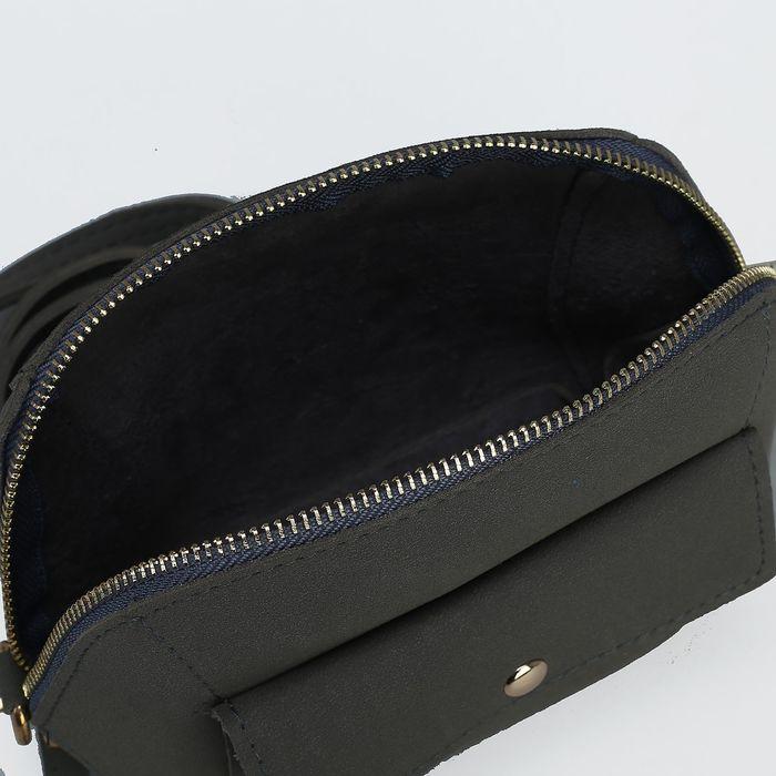 Сумка женская, отдел на молнии, наружный карман, регулируемый ремень, цвет серый