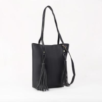 Bag, Department, zippered, outside pocket, black
