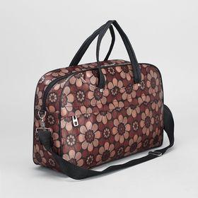 Сумка дорожная на молнии, 1 отдел, наружный карман, длинный ремень, цвет коричневый Ош