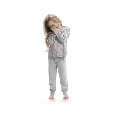 Пижама для девочек, рост 104 см, цвет серый