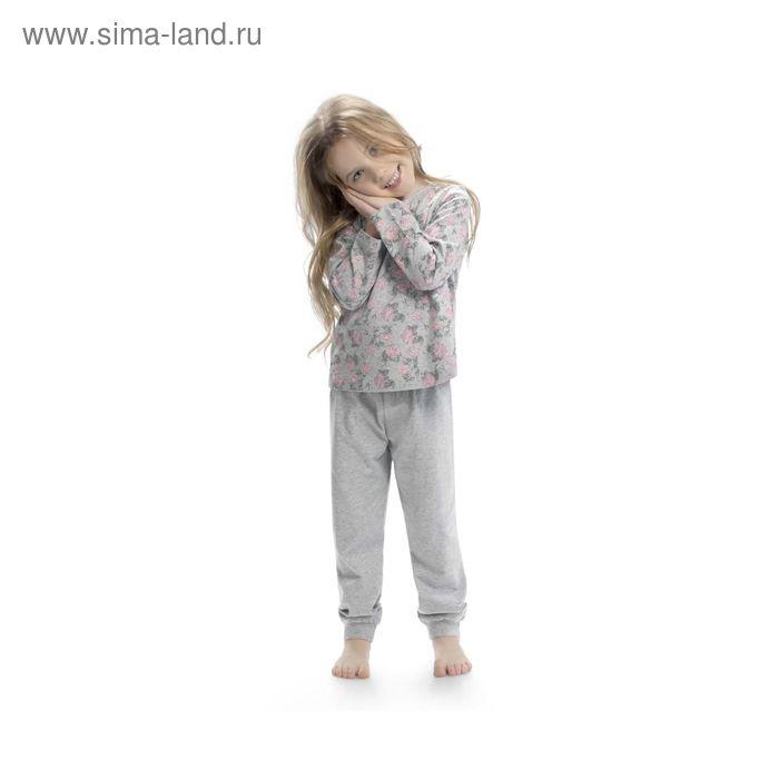 Пижама для девочек, рост 110 см, цвет серый