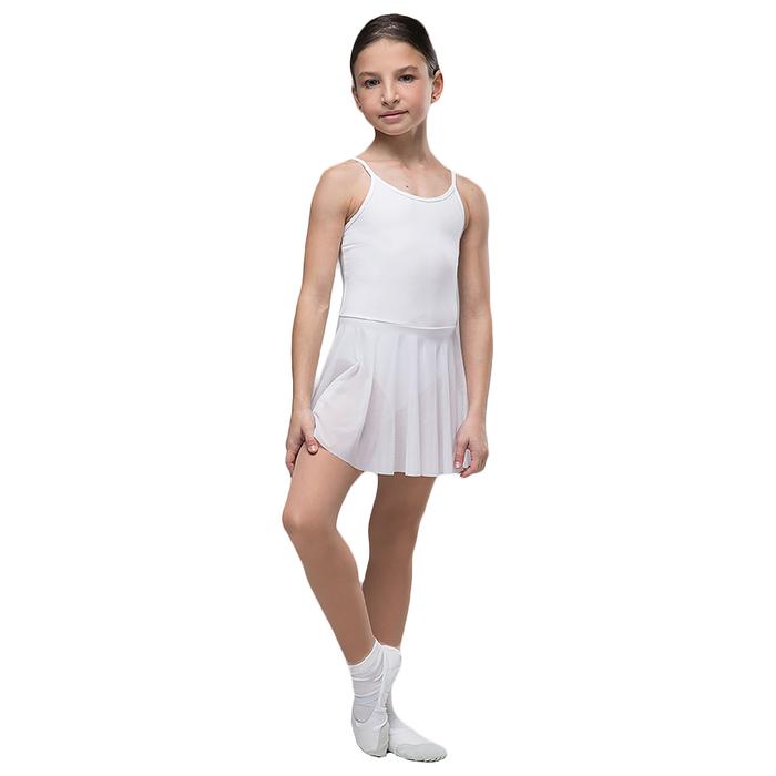 """Костюм гимнастический """"Адажио"""" на тонкой лямке, юбка-сетка, размер 38, цвет белый"""