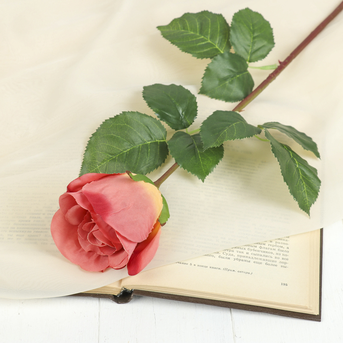 """Цветок искусственный """"Роза Мюнх"""" 9*7*60 см, оранжевая"""