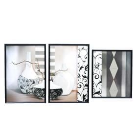 """Модульная картина в раме """"Веточки в узорных вазах"""", 50×100 см, 34×50, 33×50, 33×40"""