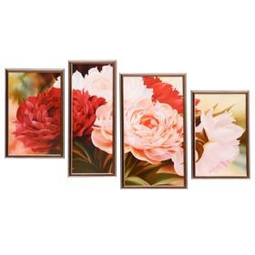 """Модульная картина в раме """"Георгины"""", 60×100 см, 25×40 — 2 шт., 20×50, 30×50"""