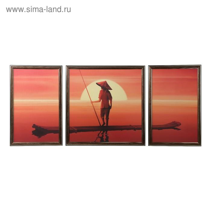 "Модульная картина в раме ""На лодке"", 40×60 см, 25×40 — 2 шт., 40×40"