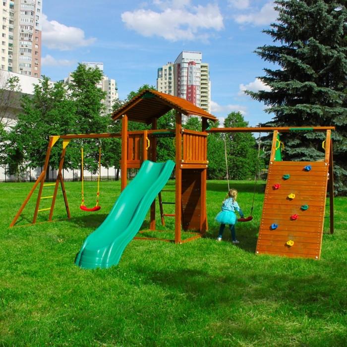 """Детский городок """"Jungle Cottage+Rock Module + Climb Modul Xtra + рукоход с качелей """" +1 стандартное"""