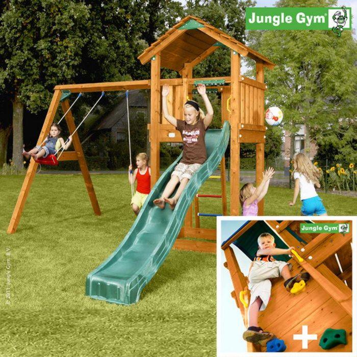 "Детский городок ""Jungle Cottage + Swing Module Xtra + Rock Module""+ 2 стандартные сидушки"