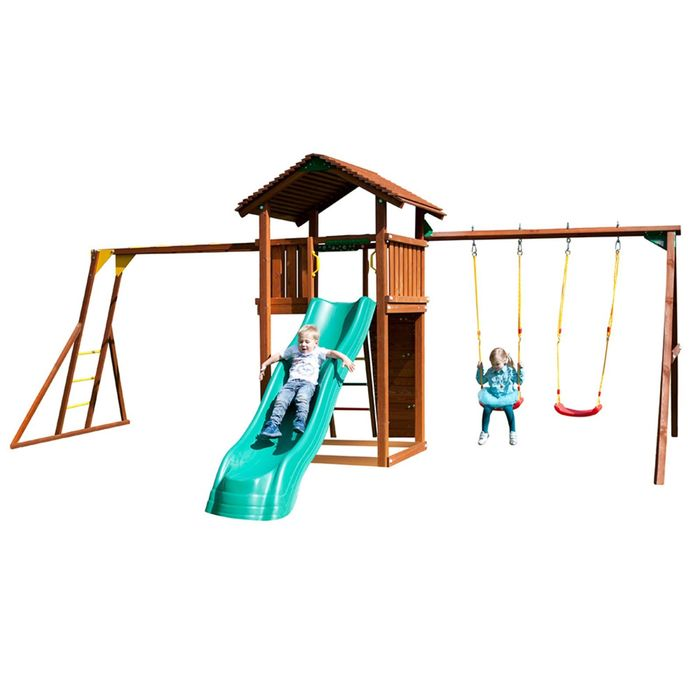 "Детский городок ""Jungle Cottage + Swing Module Xtra+Rock Module + Рукоход""+ 2 стандартные сидушки"