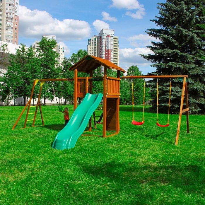 "Детский городок ""Jungle Cottage + Swing Module Xtra+Rock Module + Рукоход с гимнастическими кольцами"