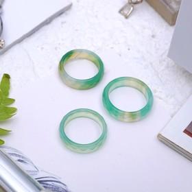 """Кольцо гранёное """"Агат зелёный"""" 6мм, размер МИКС (17-20)"""