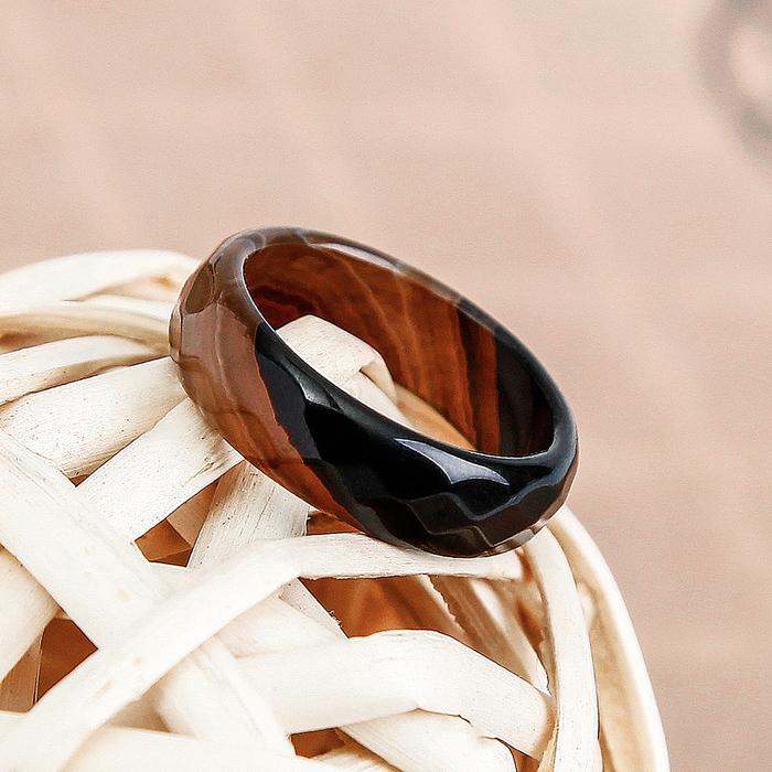 Кольцо гранёное ''Агат чёрный'' 6мм 2719688