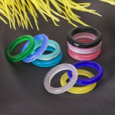 Ring faceted Cat eye MIX color, 6mm