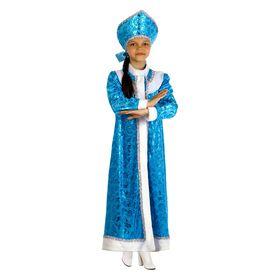 """Детский карнавальный костюм """"Снегурочка"""", плюш, р-р 36, рост 140 см"""
