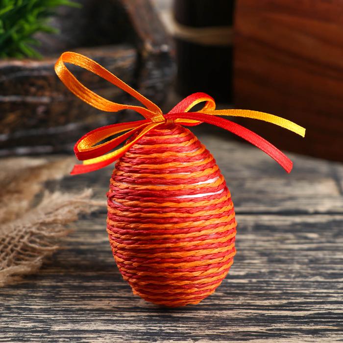 """Сувенир - пасхальное яйцо """"Плетенка"""" (набор 6 шт), цвет оранжевый"""
