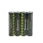 Батарейка алкалиновая Defender, AAA, LR03-4S, спайка, 4 шт.