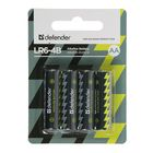 Батарейка алкалиновая Defender, AA, LR6-4BL, блистер, 4 шт.