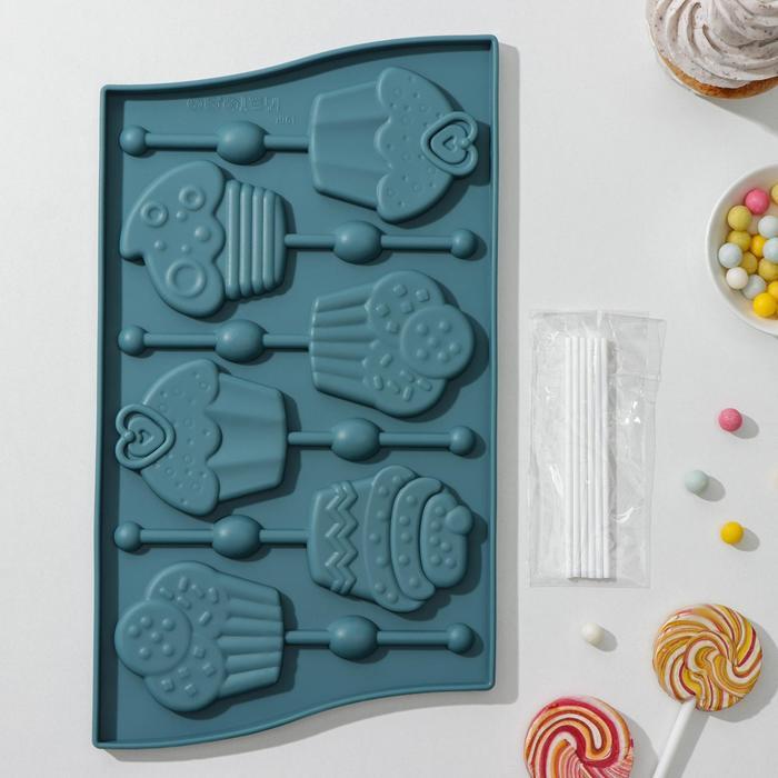 Форма для леденцов и мороженого «Капкейк», 27,5×16,5×1 см, 6 ячеек (6×7 см), цвет МИКС - фото 727717259